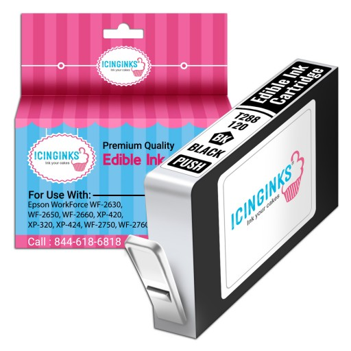 Icinginks™ Black Edible Ink Cartridge for Epson T288120 With Chip