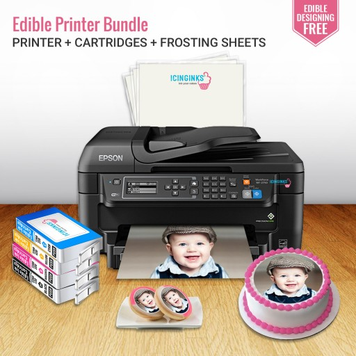 picture relating to Printable Edible Paper known as Icinginks Edible Bakery Impression Printer Offer Procedure- Epson Personnel WF-2750 (Wi-fi + Scanner) Arrives with Edible Cartridges and Frosting sheets