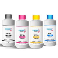 120ml or 4OZ Combo Pack Icinginks™ Epson Edible Ink Refills (Black,Cyan,Magenta,Yellow) - 4PACK for Epson Edible Printers