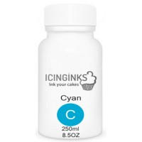 250ml or 8.5OZ CYAN Color Icinginks™ Edible Ink Refill Bottle for Canon Printers