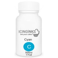 500ml or 17OZ CYAN Color Icinginks™ Edible Ink Refill Bottle for Canon Printers