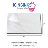 Icinginks™ Prime Blank Chocolate Transfer Sheets - Pack of 50 Transfer Sheets Large Size 11 inch X 7 inch