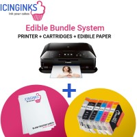 Icinginks™ Edible Printer Bundle System for Canon Pixma MG7720 (Wireless+Scanner)  Comes with Edible Cartridges and frosting sheets