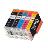 Icinginks™ Edible Ink Cartridge COMBO PACK for Canon CLI 8/PGI 5 Series With Chip (5 pack) High Yield