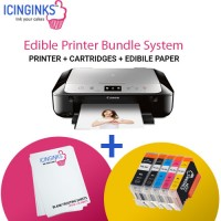Icinginks™ Latest Edible Printer Bundle for Canon Pixma MG6820 (Wireless+Scanner) Comes with Edible Cartridges and frosting sheets