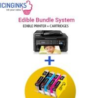 Icinginks Edible Printer Bundle System- Epson WorkForce WF-2650 (Wireless+Scanner) Comes with 4-Pack Edible Cartridges
