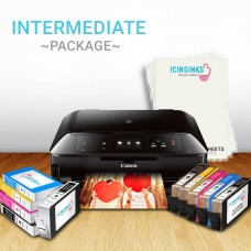 Icinginks™ Intermediate Edible Printer Bundle Package - Comes With Edible Printer + Refillable Edible Cartridges + Edible Cleaning Cartridges, 12 Icing Sheets