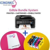 Icinginks Edible Printer Bundle System- Epson WorkForce WF-2750 (Wireless+Scanner) Comes with Edible Cartridges and Frosting sheets
