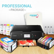 Icinginks™ Professional Edible Printer Bundle Package - Comes With Refillable Edible Cartridges, Cleaning Cartridges, Refill Edible Ink(120ml each bottle of 4 colors), 24 Frosting Sheets, Refilling tools