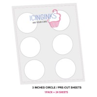 "Icinginks™ Prime Pre-cut Edible Frosting Sheets (3""inches) Pack - 24 sheets A4 size"