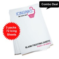 "Icinginks™ Prime Edible Frosting Sheets (8.5"" X 11"") COMBO - 3 Packs of 24 A4 sheets"