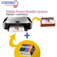Icinginks™ Latest Edible Printer Bundle System for Canon Pixma MG6821 (Wireless+Scanner) Comes with Edible Cartridges & 20 Wafer Sheets
