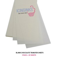 "Icinginks™ Prime Blank Chocolate Transfer Sheets A4 size - Pack of 25 Transfer Sheets ( 8.5"" X 11"")"