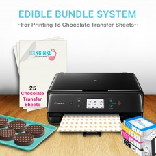 Icinginks Chocolate Transfer Sheets Edible Printer - Includes 25 Blank Chocolate Transfer Sheets + 5 Edible Ink Cartridges(Refillable)