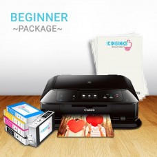 Icinginks™ Beginner Canon Edible Printer Bundle Package - Comes With Edible Printer + Edible Frosting Sheets + Full Set Of 5 Refillable Edible Cartridges