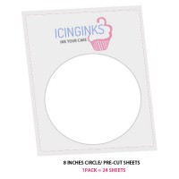 "Icinginks™ Prime Pre-cut Edible Frosting Sheets (8""inches) Pack - 24 sheets A4 Size"